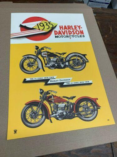 Vintage 1935 Harley Davidson Motorcycle Poster