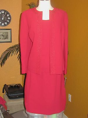 NIPON BOUTIQUE 14W NWT $320 3 piece womens suit red candy apple bead work