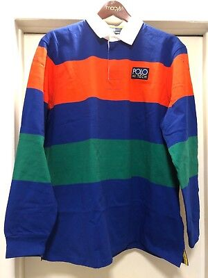 XXL POLO RALPH LAUREN HI TECH RUGBY BLUE ORANGE GREEN CLASSIC FIT STRIPE SHIRT