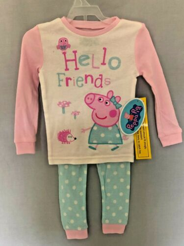 Peppa Pig Pajamas Girls Toddler Size 2T 4T 5T Pink Sleep Outfit Hello Friend NEW