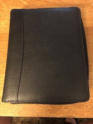 Franklin Covey Planner Classic Black Pebbled Leather Binder Organizer 7 Ring Zip