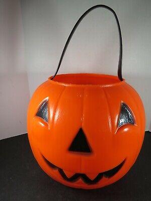 VTG Halloween Empire Blow Mold Pumpkin Trick Treat Candy Bucket Pail B806