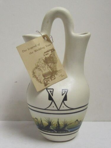 "Vintage Native American Wedding Vase Ute Signed 10.5"" Art Pottery Decor"