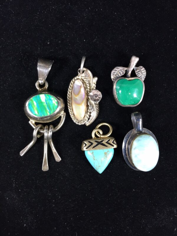 Vintage Sterling Silver Old Pawn Pendants Lot Of 5 Turquoise Abalone Opal Petite