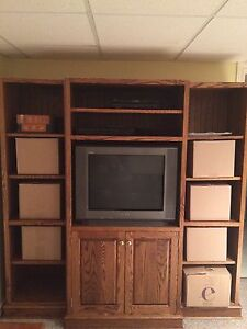 Custom built oak tv unit / bookcase