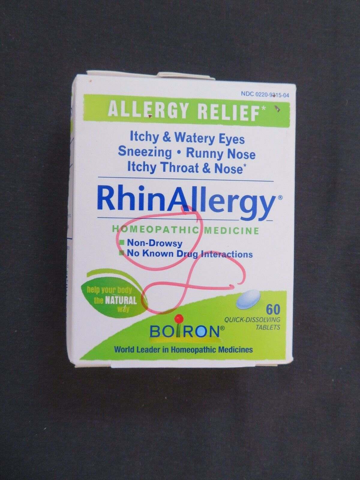 Boiron RhinAllergy 60 Tablets homeopathic allergy relief exp