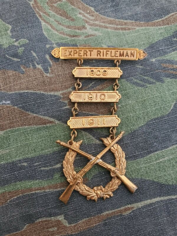 PRE WWI US Army Marine Corps Named Expert Rifleman Dated Badge
