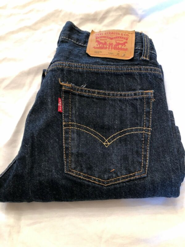LEVIS 505 Straight Jeans Boys Kids 12 Reg 26 x 26 Dark Wash EUC  (L-2)
