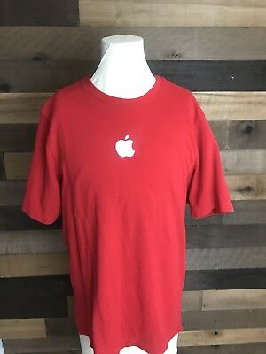 Apple Logo Mac Authentic Mens Apple Store Retail Employee T Shirt Red Medium for sale  Shipping to India