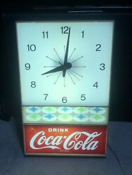 Original Vintage 1960's DRINK COCA COLA Lighted Clock, Coke, Very Nice!
