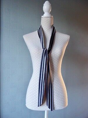 black and grey striped skinny scarf, black mod scarf, long thin striped tie (Black And Gray Striped Scarf)