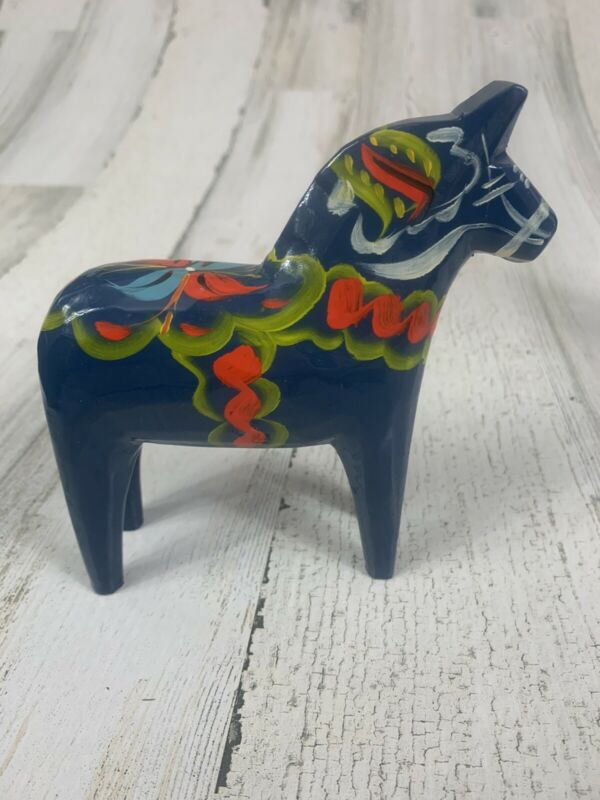 "Swedish Akta Dalahemslojd Hand Painted Blue Dala Horse Mora Sweden 5"" FREE SHIP"