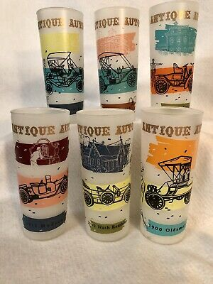 6 Vintage Anchor Hocking Antique Autos 16 oz Frosted Glass Tumblers Tom Collins