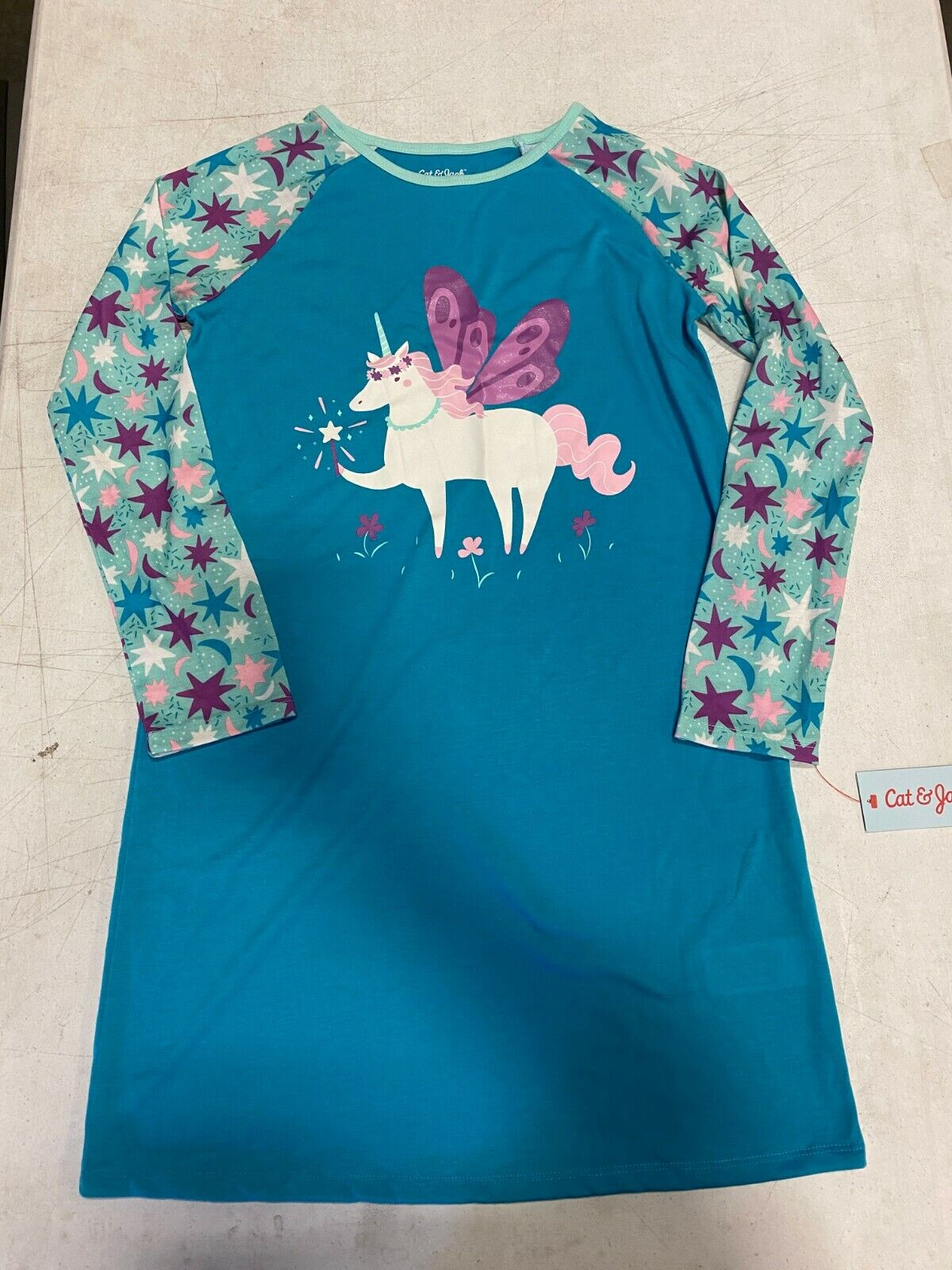 Cat and Jack Unicorn Night Gown- Turquoise L 10/12-Flame Resistant Fabric Clothing, Shoes & Accessories
