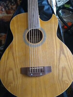 Fretless 6 String Electric Cutaway Acoustic Bass Light-Brown, W/4 Band EQ