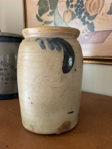 "Antique Salt Glaze Stoneware Jar/Crock Cobalt Blue Comma Floral Decorated 9"""