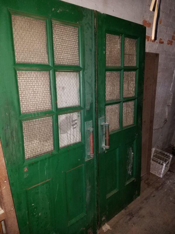 Antique Architectural Salvaged Entry Door Brass, Chicken Glass Panel Steel Metal
