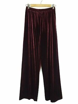 Coldwater Creek Women Size Medium Pants Stretch Velvet Wine Red Velour Pull On M