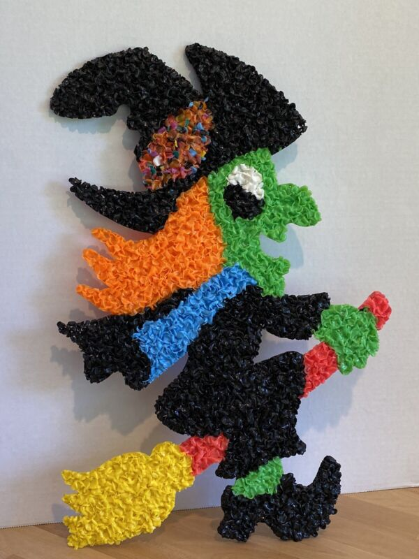 Vintage Melted Popcorn Plastic Decor Halloween Witch With Broom and Black Hat