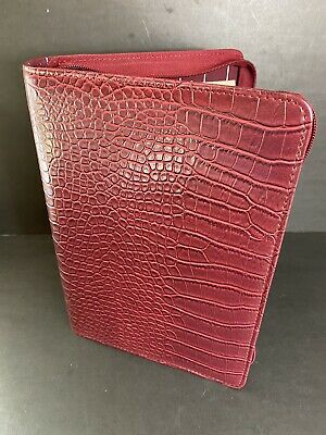 Day One Planner Binder Franklin Covey Zip Red Reptile Faux Leather 1.25 Rings