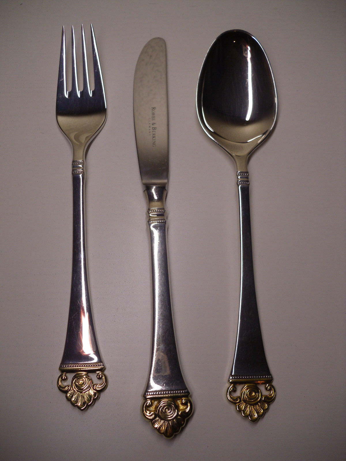 Robbe /& Berking R/&B Gabel Rosenmuster 19,5cm Silber 150 teilvergoldet