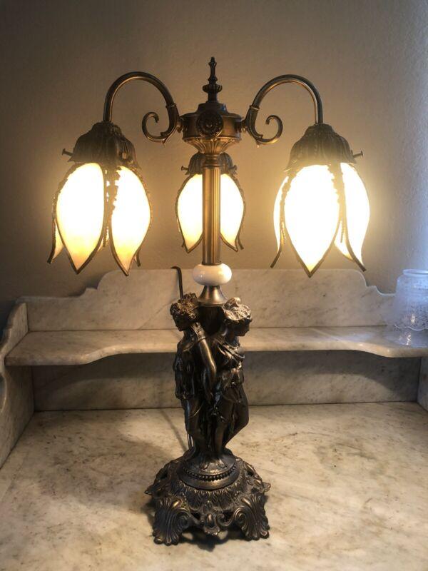 Vintage Art Nouveau Three Graces Table Lamp Three Beige Tulip Slag Glass Shades