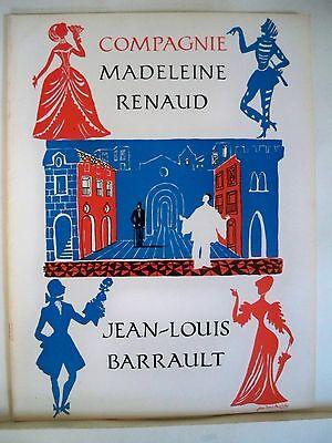 MADELEINE RENAUD & JEAN-LOUIS BARRAULT COMPANY Souvenir Program NYC & Tour 1957