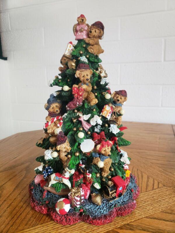 Tall Vintage Christmas Tree Teddy Bears Large Figurine Vtg Bear Angel Train