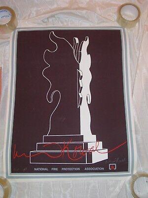 1981 National Fire Protection Association Poster Dennis Kowel Signed #'d nfpa