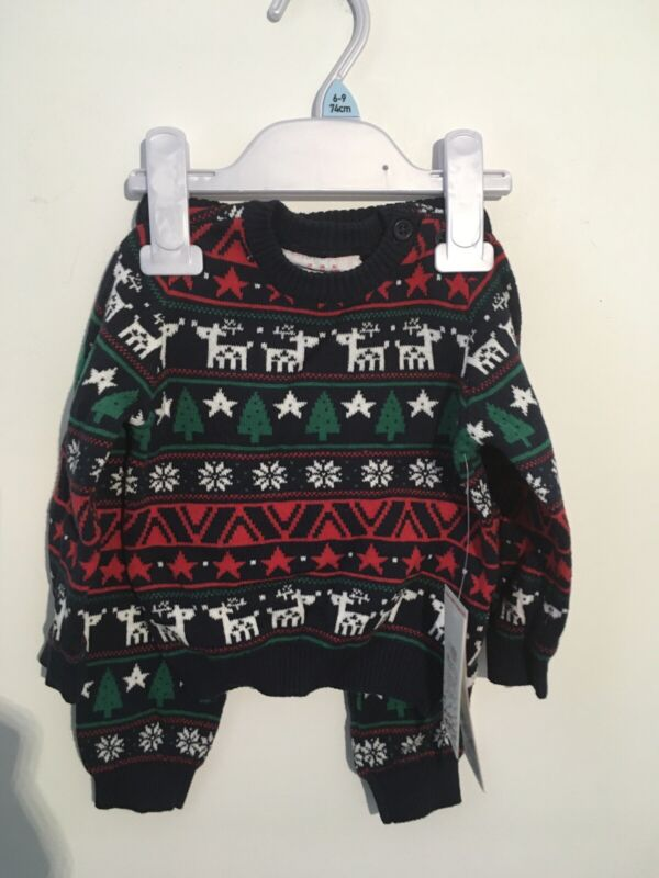 Babys+Boys+Christmas+Xmas+Outfit+Jumper+Knitted+Trousers%2FLeggings+Age+6-9+Months