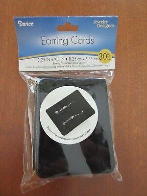 Darice Earring Display Cards 3.25 X 2.5 30pk Black Velvet - Brand New