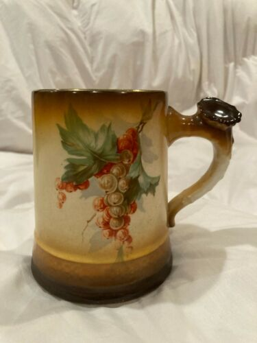Antique Homer Laughlin Art China Stein Stag Handle Currant Berry Transfer c.1900