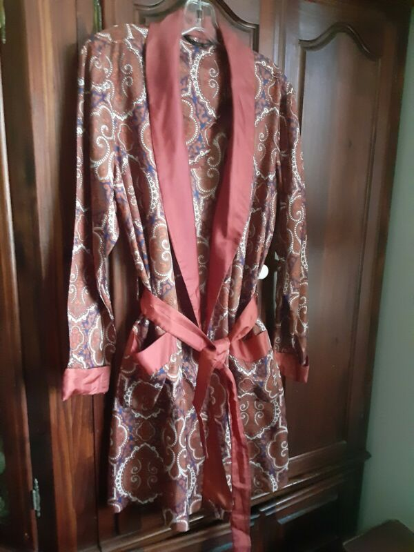 Vintage St. Michael Paisley  Smoking Dress Robe Jacket Small