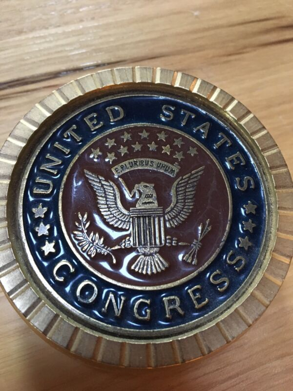 Vintage United States Congress Seal Heavy Brass and Enameled USA Coasters