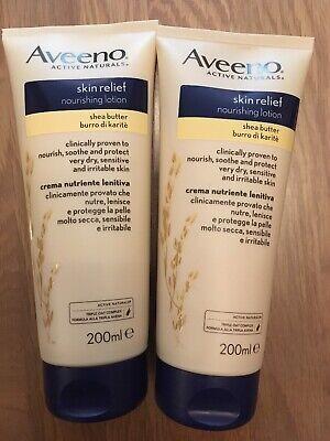 2 x Aveeno Skin Relief Shea Butter Moisturising Nourishing Lotion 200ml