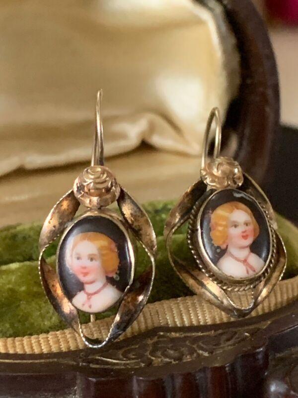 Antique /Victorian Portrait Earrings