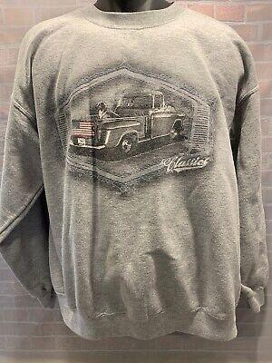 American Flag Sweatshirt (Vintage Classics American Flag Pick Up Dog Dog Sweat Shirt Men's Size M)