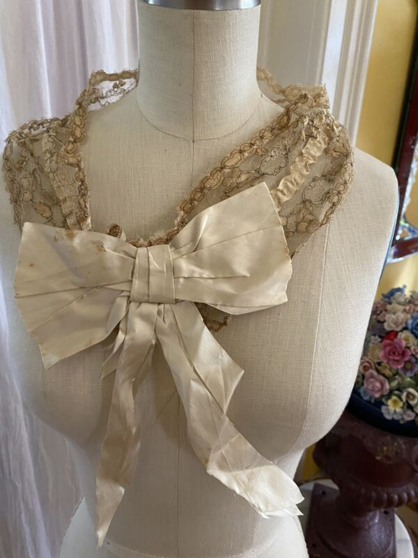 Antique French Lace Collar Fine Metalwork Silk Accents Bow Circa 1800