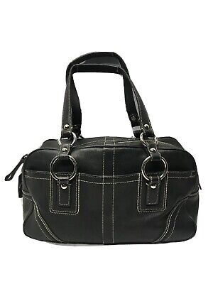 Coach 10580 Black Leather Handbag White Contrast Stitching