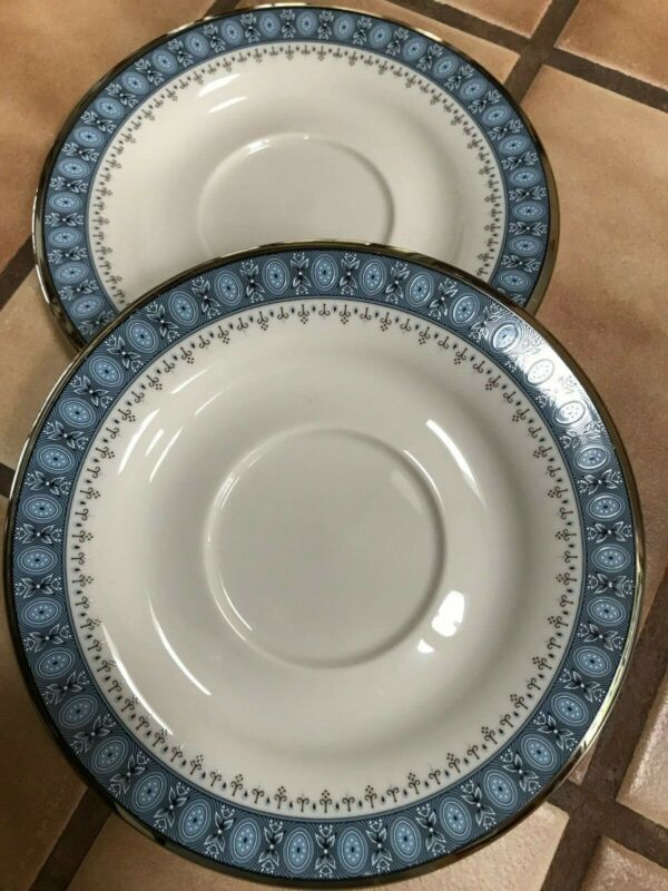 2 Vintage Gorham China Kingsbury Coffee Tea Cup Saucers Platinum Band Blue White