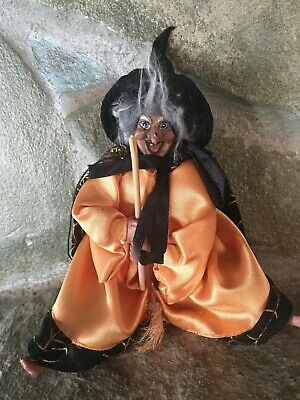 VINTAGE GANZ FLYING WITCH FIGURINE DOLL HALLOWEEN ORNAMENT DECORATION
