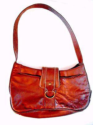 Fashion Brown Shoulder Bag Man Made Small Brass Adorn 7 Pockets