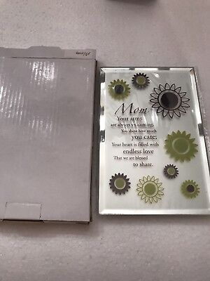 (Mom - Inspirational Plaque with stand - beveled glass, NIB - best gift)