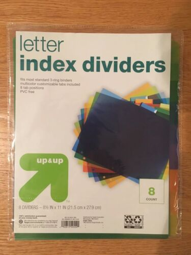 Up & Up Index Dividers  8 Tabs  Letter Size  Multicolor for