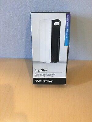 New RIM Blackberry Z10 OEM Flip Shell Carrying Case Stand White Blackberry Z10 Flip Shell