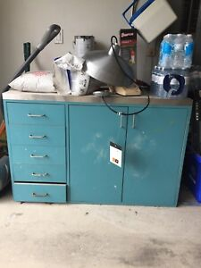 Industrial cabinet with stainless steel top