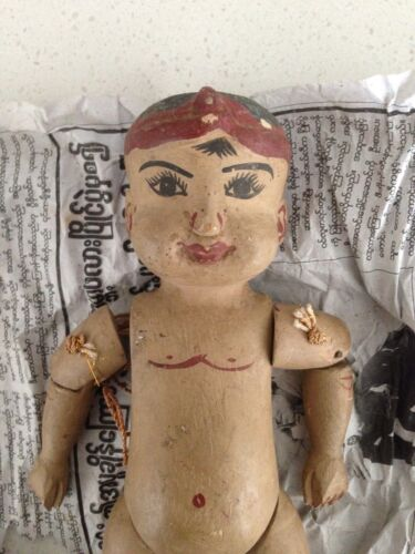 Antique BURMESE hand carved wooden Doll, very nice