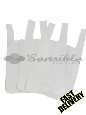5000 x STRONG WHITE PLASTIC VEST CARRIER BAGS 10X15X18