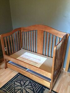 Wooden toddler bed with drawer ( converted)