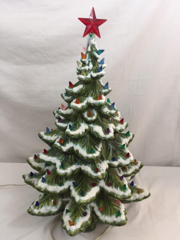"VTG Ceramic Christmas Tree LARGE 24"" Green Multi Color Bulbs Red Star Topper"